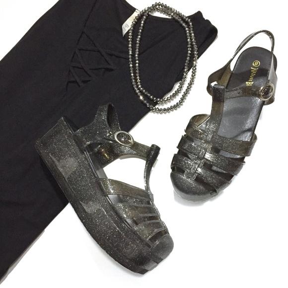 d353d7279cb6 Glitter Jelly Platform Sandals. M 5cb3ac8b152812fcf69f5197